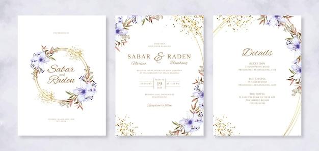 Invito di carta di matrimonio bellissimo con floreale acquerello dipinto a mano