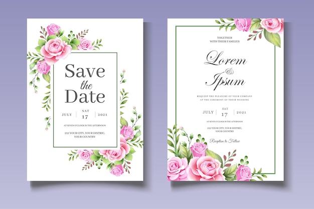 Bellissimo set di partecipazioni di nozze con eleganti foglie floreali