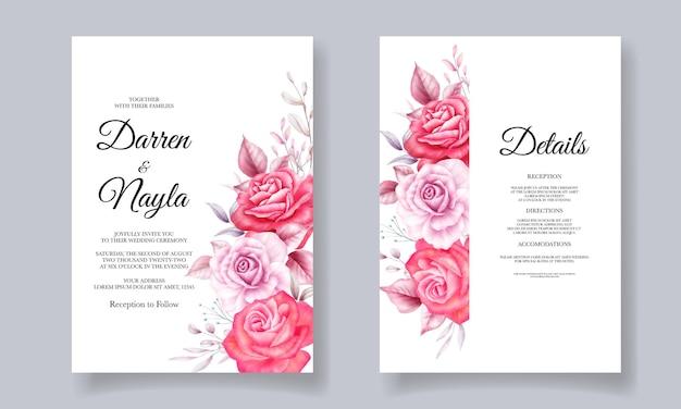 Disegno floreale del modello della bella carta di nozze