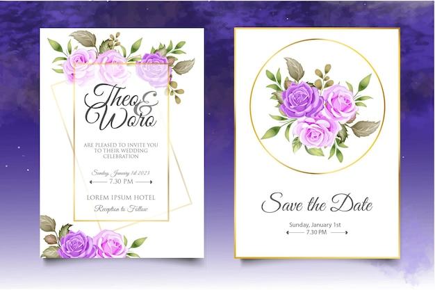 Bellissimo modello di carta di nozze con fiori colorati e foglie