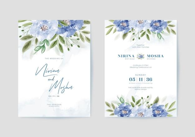 Bellissimo modello di partecipazione di nozze con acquerello floreale