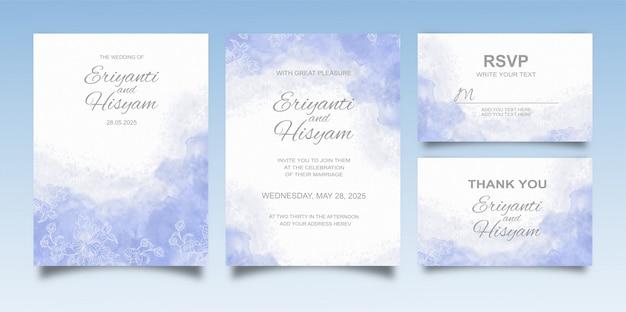 Bellissimo sfondo acquerello carta di nozze con schizzi e linee floreali