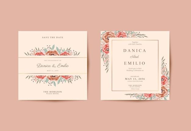 Bella carta di nozze con bellissimo acquerello floreale