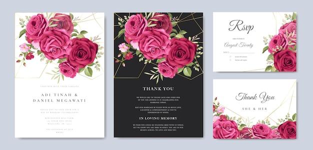 Bella carta di nozze con modello di sfondo floreale e foglie Vettore Premium