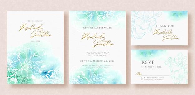Bella carta di matrimonio con schizzi ad acquerello