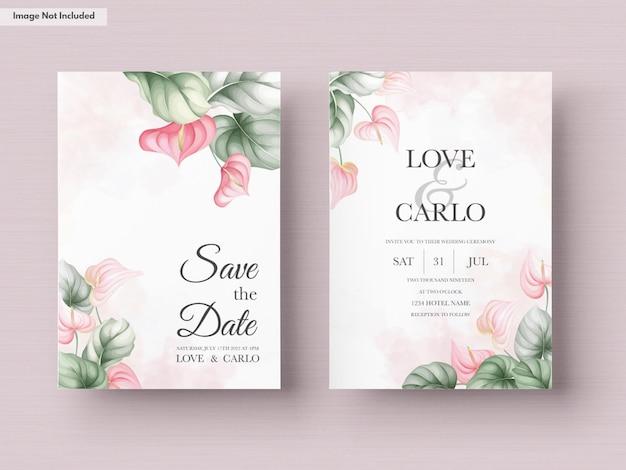 Modello di set di carte invito matrimonio bellissimo