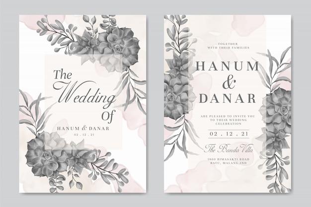 Modello di carta di invito matrimonio bellissimo set con cornice floreale