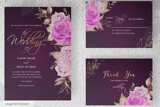 Bellissimo modello di carta di invito a nozze con fiori e foglie disegnati a mano