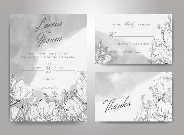Insieme di modelli di carta invito bellissimo matrimonio con sfondo floreale e acquerello disegnato a mano splash