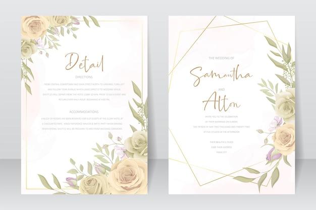 Bellissimo modello di biglietto d'invito per matrimonio con decorazione di rose e foglie
