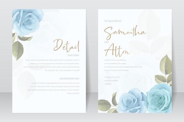 Bellissimo modello di biglietto d'invito per matrimonio con decorazione di rose e foglie Vettore Premium