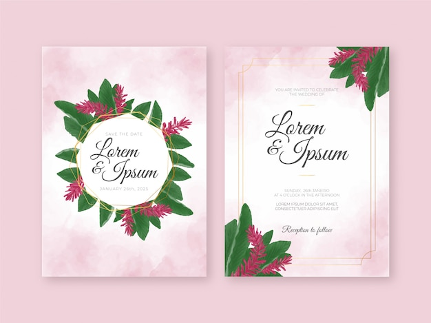Modello di carta di invito matrimonio bellissimo con acquerello floreale tropicale