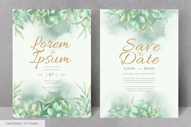 Bellissimo modello di biglietto d'invito per matrimonio con fogliame disegnato a mano ad acquerello