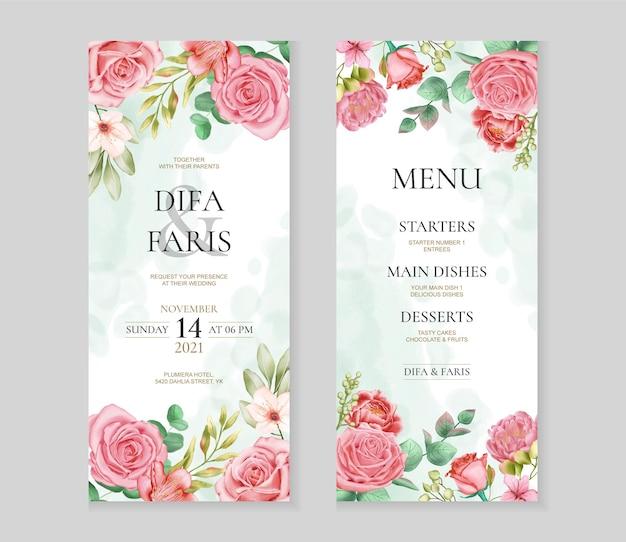 Modello di carta di invito matrimonio bellissimo con cornice di fiori di rosa dell'acquerello