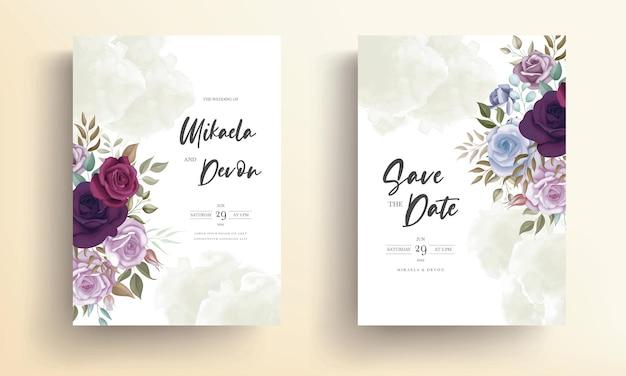Bellissimo biglietto d'invito per matrimonio con un bellissimo ornamento floreale