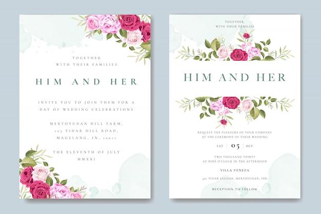 Bella carta di invito a nozze con modello di rose colorate