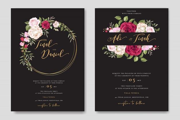Carta di invito bel matrimonio con modello di cornice floreale Vettore Premium