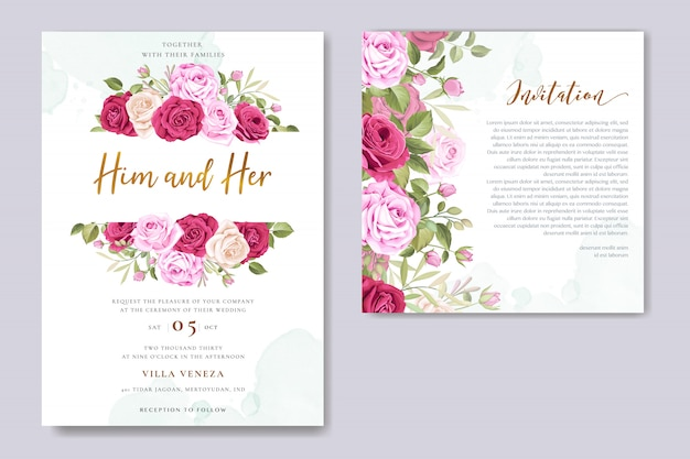 Bella carta di invito a nozze con ghirlanda di fiori e foglie