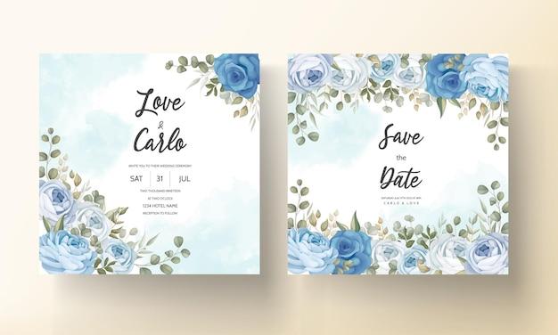 Bellissimo biglietto d'invito per matrimonio con decorazioni di peonie blu disegnate a mano