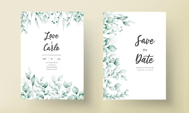 Bellissimo biglietto d'invito per matrimonio con decorazione a foglia