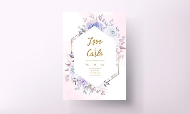 Carta di invito matrimonio bellissimo con fiori viola