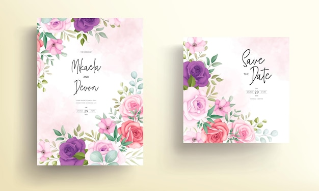 Bellissimo biglietto d'invito per matrimonio con morbidi ornamenti floreali