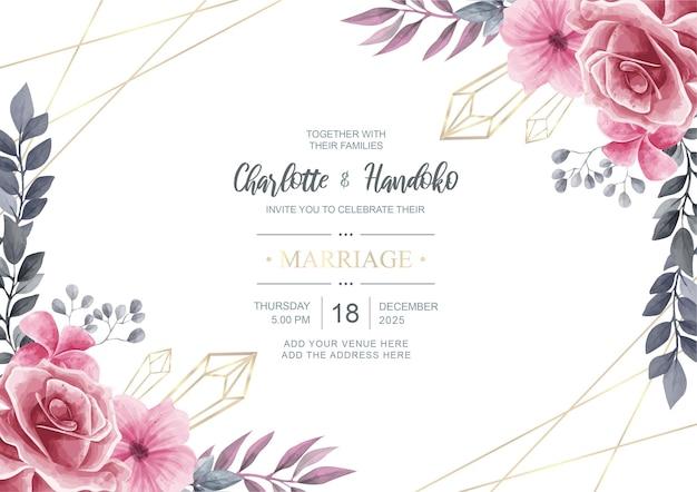 Carta di invito matrimonio bella con fiore dell'acquerello