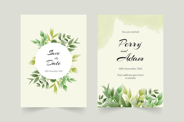 Bellissimo biglietto d'invito per matrimonio con foglie ad acquerello