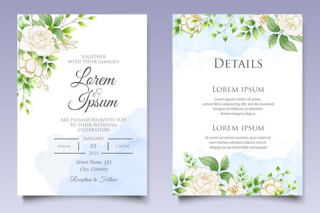 Modello di carta floreale e foglie bellissimo invito matrimonio