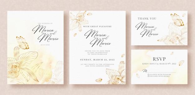 Bellissimo modello di invito a nozze oro floreale e farfalle