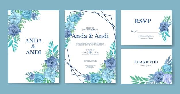 Bello modello stabilito dell'invito di nozze con la rosa blu