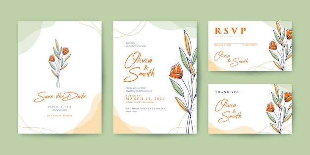 Bellissimo invito a nozze con fiori colorati