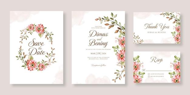 Bellissimo set di partecipazioni di nozze con acquerello floreale