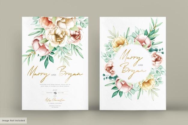 Bellissimo invito a nozze con fiori ad acquerelli