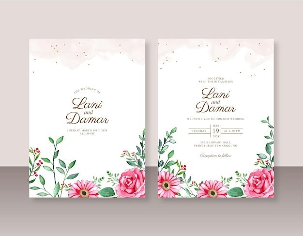 Bellissimo modello di invito a nozze con pittura ad acquerello floreale