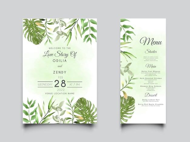 Bellissimo modello di invito a nozze con acquerello floreale verde