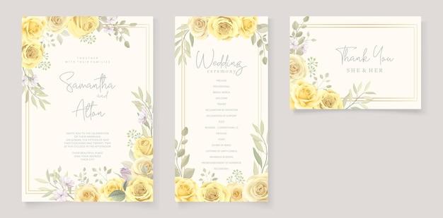 Bellissimo modello di invito a nozze con rose gialle disegnate a mano