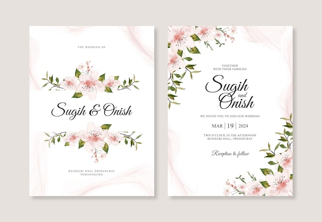 Bellissimo modello di invito a nozze con acquerello floreale