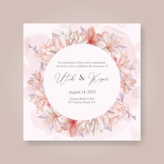 Bellissimo modello di invito a nozze con fiori e foglie ad acquerello