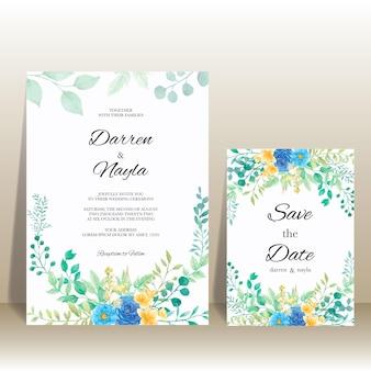 Bellissimo modello di invito a nozze con fiori e foglie dell'acquerello