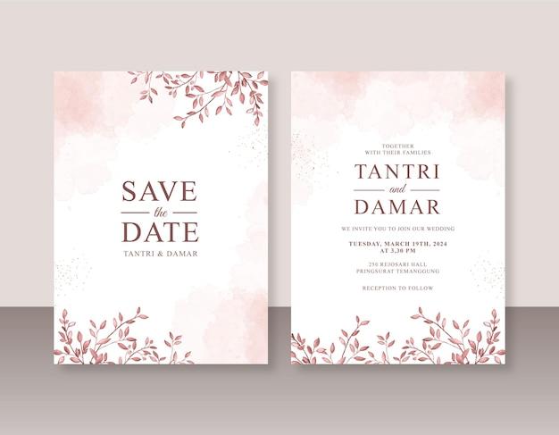 Bellissimo modello di invito a nozze con foglie ad acquerello