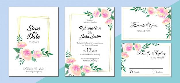 Bello modello dell'invito di nozze con il fondo dell'acquerello della rosa e della peonia di rosa dell'acquerello Vettore Premium