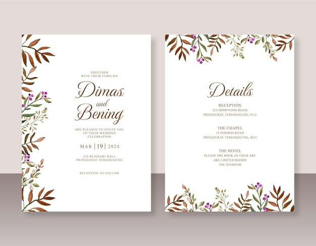Bellissime foglie dell'acquerello dell'invito di nozze