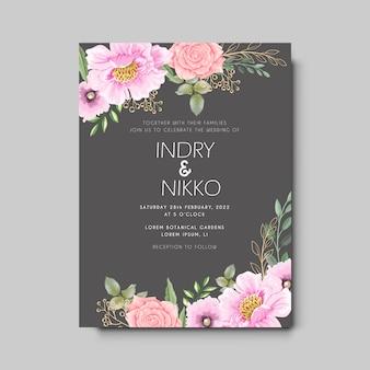 Bellissimo invito a nozze con il concetto floreale artistico