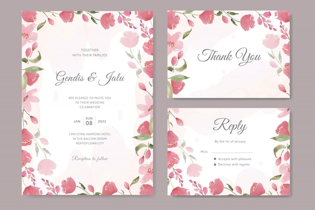 Invito a nozze bellissimo con acquerello floreale rosso