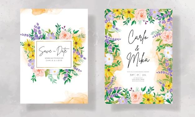 Bellissimo biglietto d'invito per matrimonio con fiori selvatici