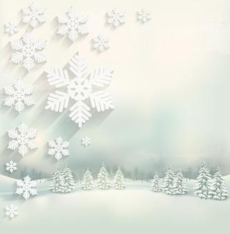 Bellissimo sfondo invernale con un paesaggio e un design a fiocco di neve. vettore.