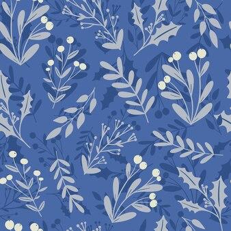Bella stagione invernale motivo floreale senza cuciture sfondo agrifoglio bacca vischio pianta silhouette