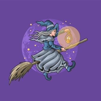 Bella strega che cavalca una scopa volante