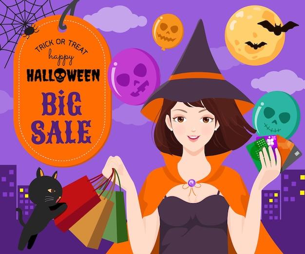 Bella strega che fa shopping la notte di halloween